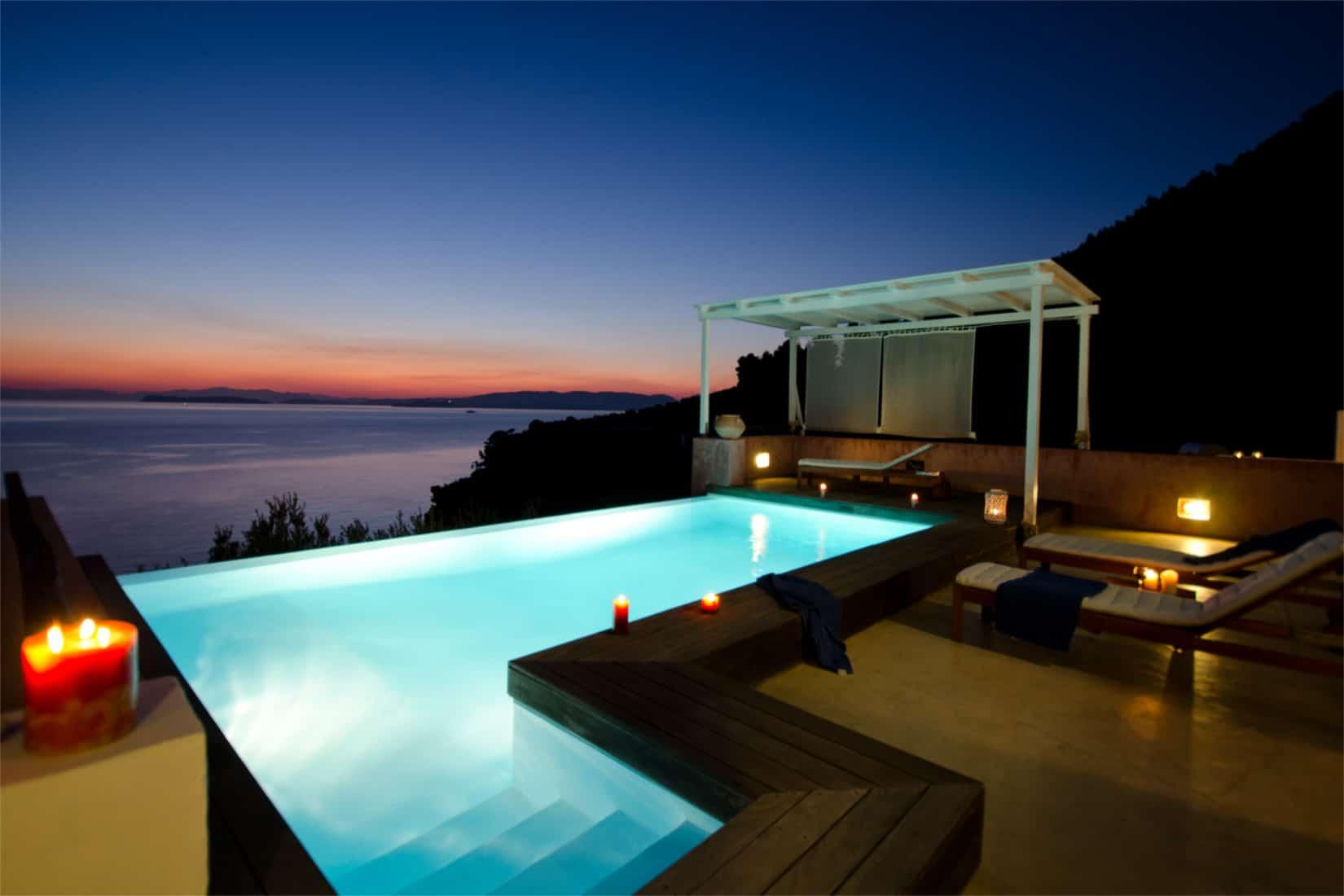 Villa Cybele in Skopelos, Greece, pool view, by Olive Villa Rentals