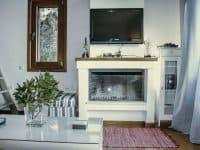 Villa Jason in Pelion Greece, fireplace, by Olive Villa Rentals