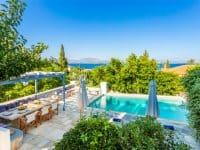 Villa Corinna in Spetses Greece, pool area, by Olive Villa Rentals
