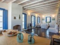 Villa Kastalia in Spetses Greece, living room, by Olive Villa Rentals