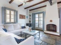 Villa Zenais in Spetses Greece, living room, by Olive Villa Rentals