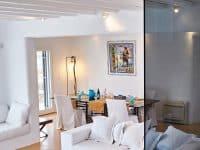 Villa Leticia in Mykonos Greece, living room, by Olive Villa Rentals