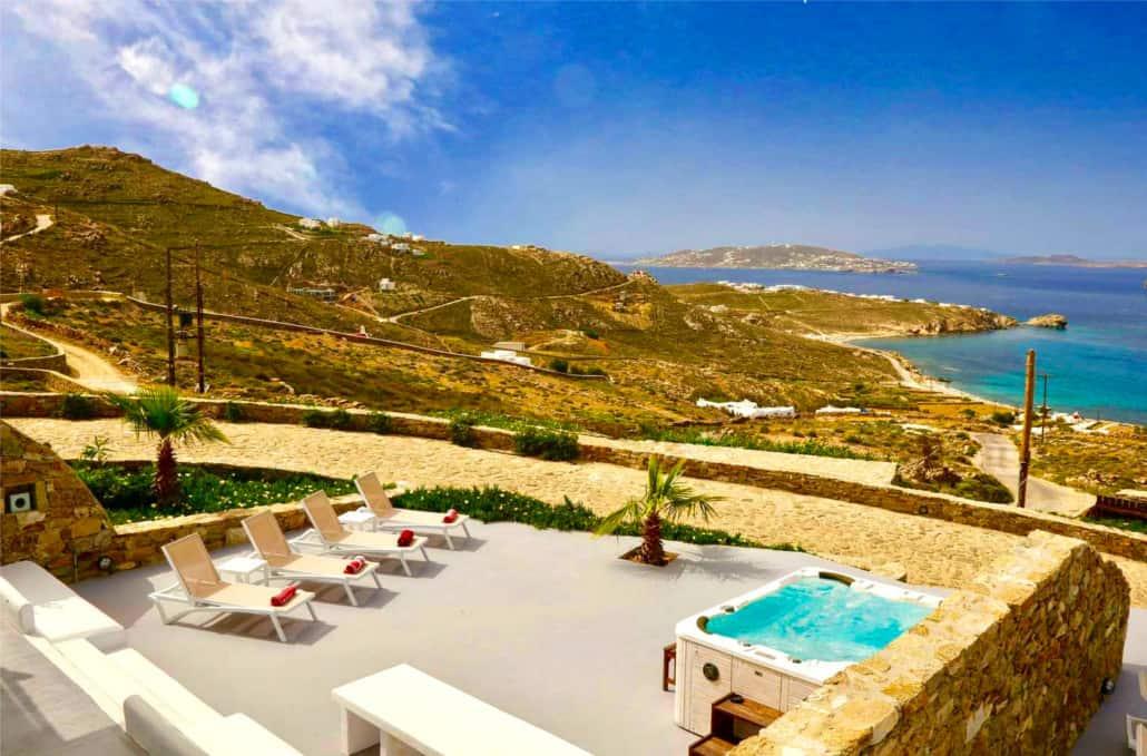 Villa Bianca in Mykonos Greece, jacuzzi, by Olive Villa Rentals