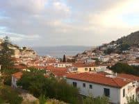 Villa Begonia in Hydra Greece, terrace view, by Olive Villa Rentals