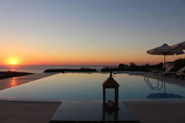 Villa -Roccia Nera-Olive Villa Rentals - Santorini -sunset