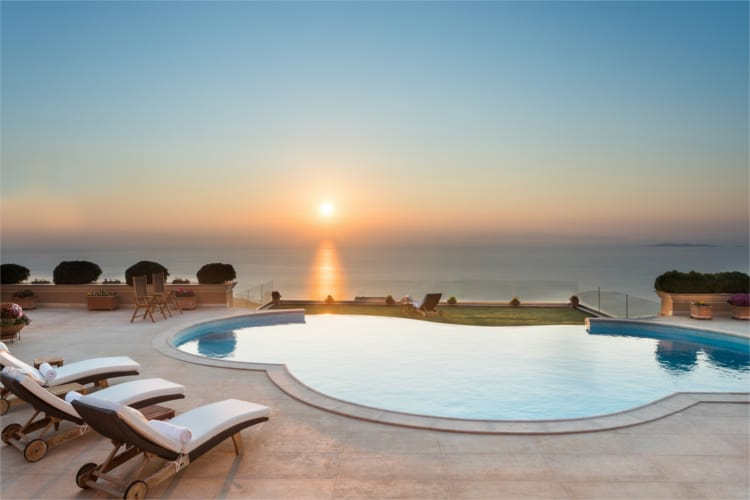 Villa Primavera in Athens Greece, sunset view, by Olive Villa Rentals