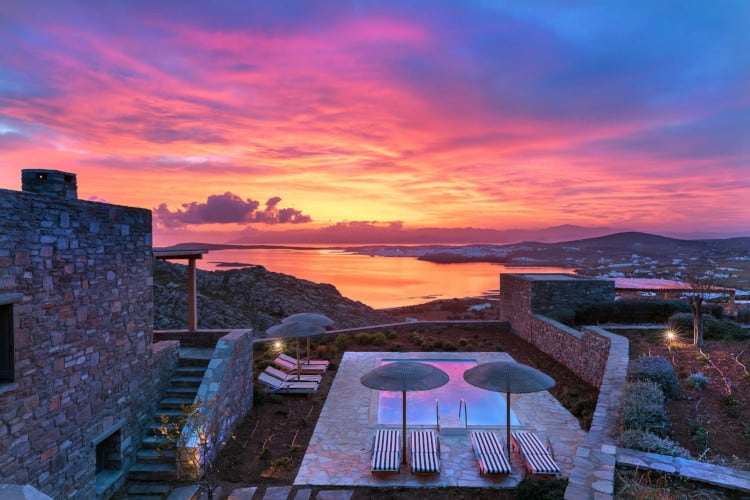 Villa- Cinqo-Paros-by-Olive-Villa-Rentals-exterior-pool-area-sunset