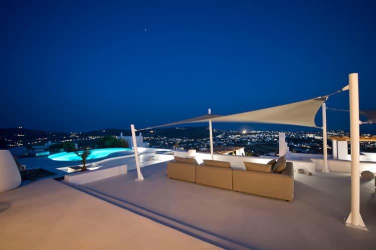 small-Villa- Velvet-Mykonos-by-Olive-Villa-Rentals-exterior-pool-area-night