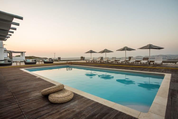 Villa-Coco-Paros-by-Olive-Villa-Rentals-pool-area-evening-sunset-views