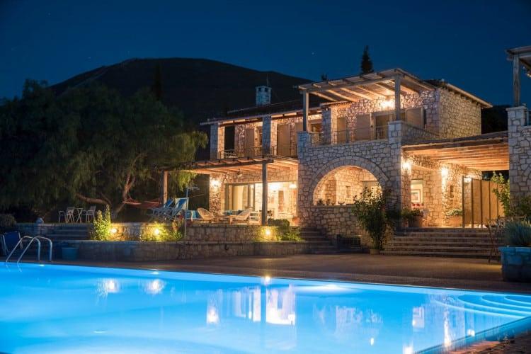 small-Villa- Porfyra-Evia-by-Olive-Villa-Rentals-pool-area-night-property