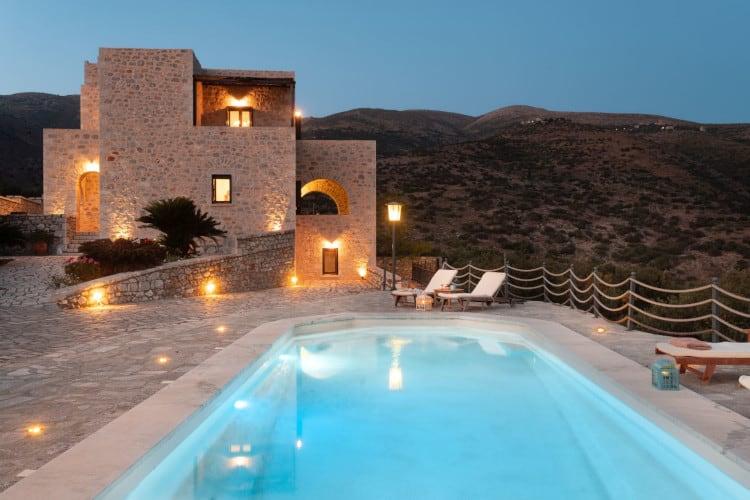 small-Villa- Roque -Mani-Peninsula-by-Olive-Villa-Rentals-exterior-night-views