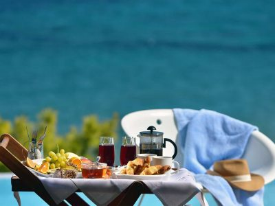 Villa Azzuro in Aegina Greece, breakfast, by Olive Villa Rentals