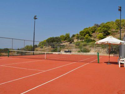 Villa Azzuro in Aegina Greece, tennis court, by Olive Villa Rentals