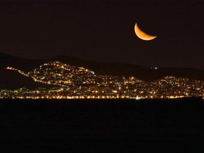 Villa Azzuro in Aegina Greece, night view, by Olive Villa Rentals