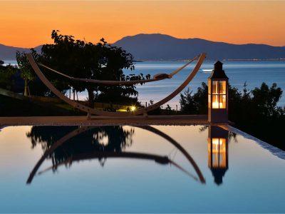 Villa Azzuro in Aegina Greece, sunset view, by Olive Villa Rentals