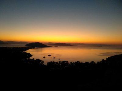 Villa Harmonia in Aegina Greece, sunset, by Olive Villa Rentals