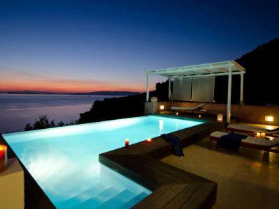 Villa- Cylena -Skopelos-by-Olive-Villa-Rentals-property-a-pool-area-night