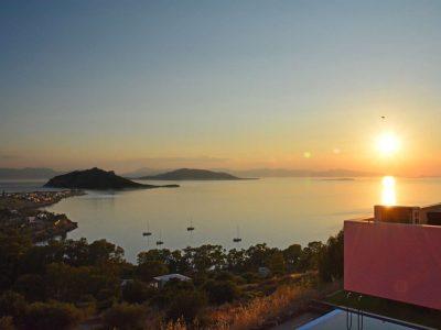 Villa Calypso in Aegina Greece, sunset, by Olive Villa Rentals