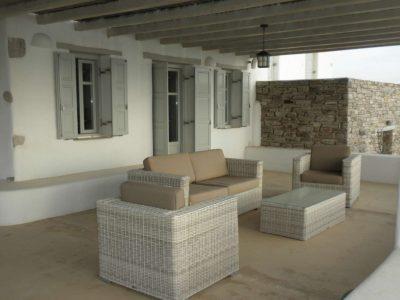 Villa Eurydice in Antiparos Greece, couch, by Olive Villa Rentals