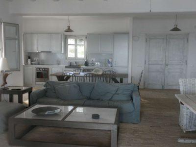 Villa Eurydice in Antiparos Greece, living room, by Olive Villa Rentals