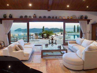 Villa Miltiades in Athens Greece, living room, by Olive Villa Rentals