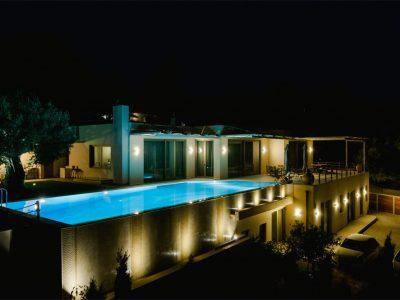 Villa Serenity in Athens000000 Greece, night scene , by Olive Villa Rentals