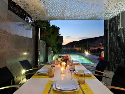 Villa Themis in Athens Greece, dining table, by Olive Villa Rentals