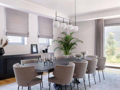 Olive Urban Estate in Athens Greece, dining room, by Olive Villa Rentals