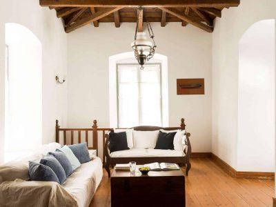 Villa Violet in Hydra Greece, living room, by Olive Villa Rentals
