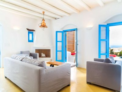 Villa Lavanda in Koufonisia Greece, living room, by Olive Villa Rentals