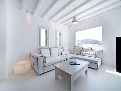 Villa Ariadne in Mykonos Greece, living room 3, by Olive Villa Rentals