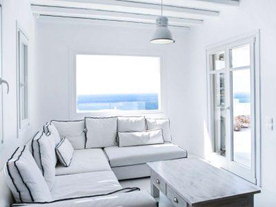 Villa Ariadne in Mykonos Greece, living room, by Olive Villa Rentals