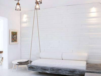 Villa Ariadne in Mykonos Greece, couch, by Olive Villa Rentals