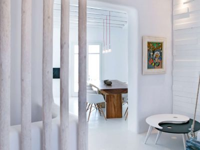 Villa Ariadne in Mykonos Greece, dining room, by Olive Villa Rentals