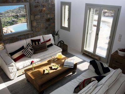 Villa Joy in Mykonos Greece, living room, by Olive Villa Rentals