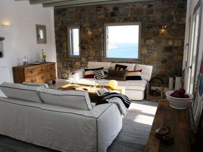 Villa Joy in Mykonos Greece, living room 2, by Olive Villa Rentals