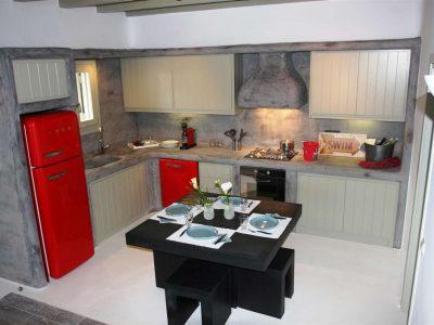 Villa Joy in Mykonos Greece, kitchen, by Olive Villa Rentals