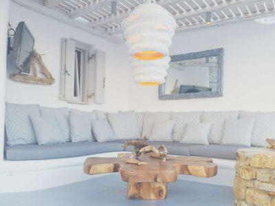 Villa Leirion in Mykonos Greece, couch, by Olive Villa Rentals