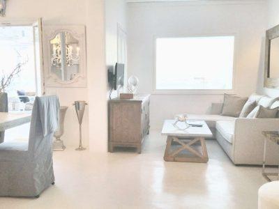 Villa Leirion in Mykonos Greece, living room, by Olive Villa Rentals