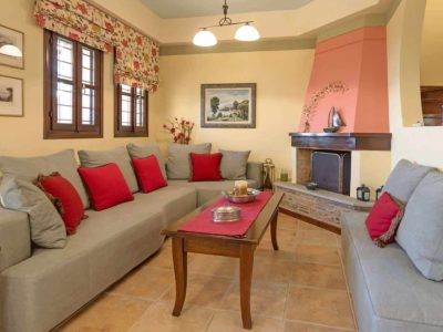 Milies House in Pelion Greece, living room, by Olive Villa Rentals
