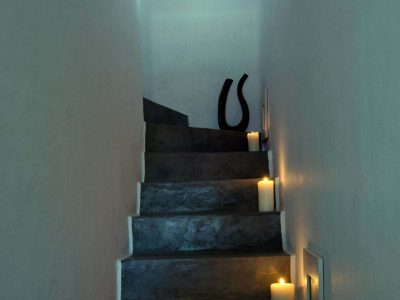Villa Cybele in Skopelos Greece, stairway, by Olive Villa Rentals