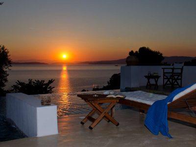 Villa Cybele in Skopelos Greece, sunset, by Olive Villa Rentals