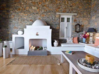Villa Cybele in Skopelos Greece, living room, by Olive Villa Rentals