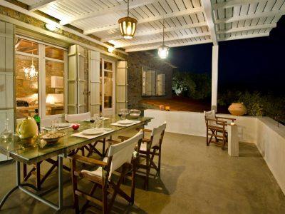 Villa Cybele in Skopelos Greece, dining table 4, by Olive Villa Rentals