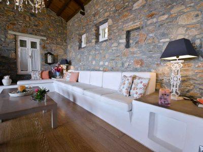 Villa Cybele in Skopelos Greece, living room 3, by Olive Villa Rentals