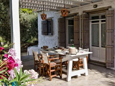 Pool Villa Selene in Skopelos Greece, dining table 2, by Olive Villa Rentals