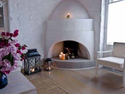 Pool Villa Selene in Skopelos Greece, fireplace, by Olive Villa Rentals