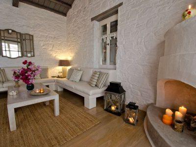 Pool Villa Selene in Skopelos Greece, living room, by Olive Villa Rentals