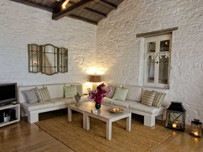 Pool Villa Selene in Skopelos Greece, living room 2, by Olive Villa Rentals