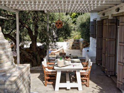 Pool Villa Selene in Skopelos Greece, dining table, by Olive Villa Rentals